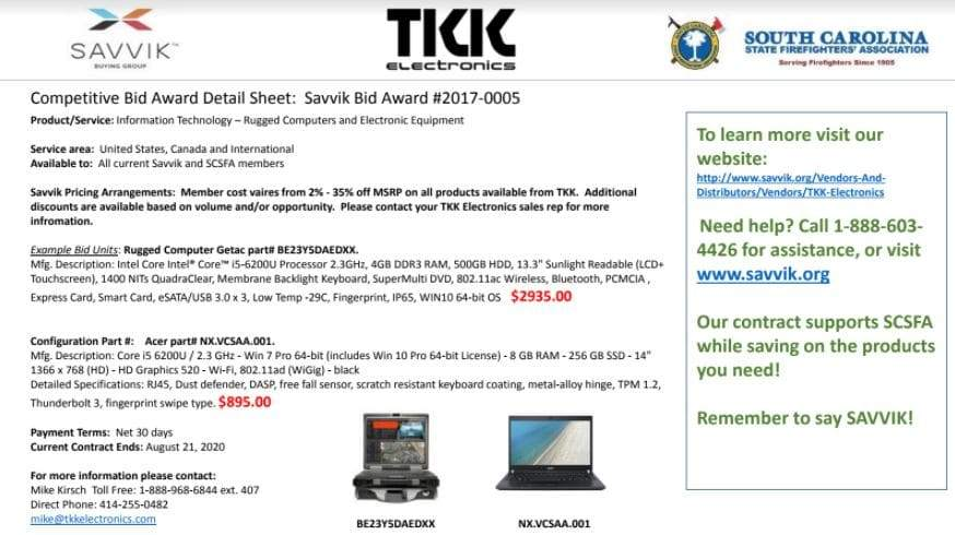 Savvik offers TKK Bid Sheet to Members - South Carolina
